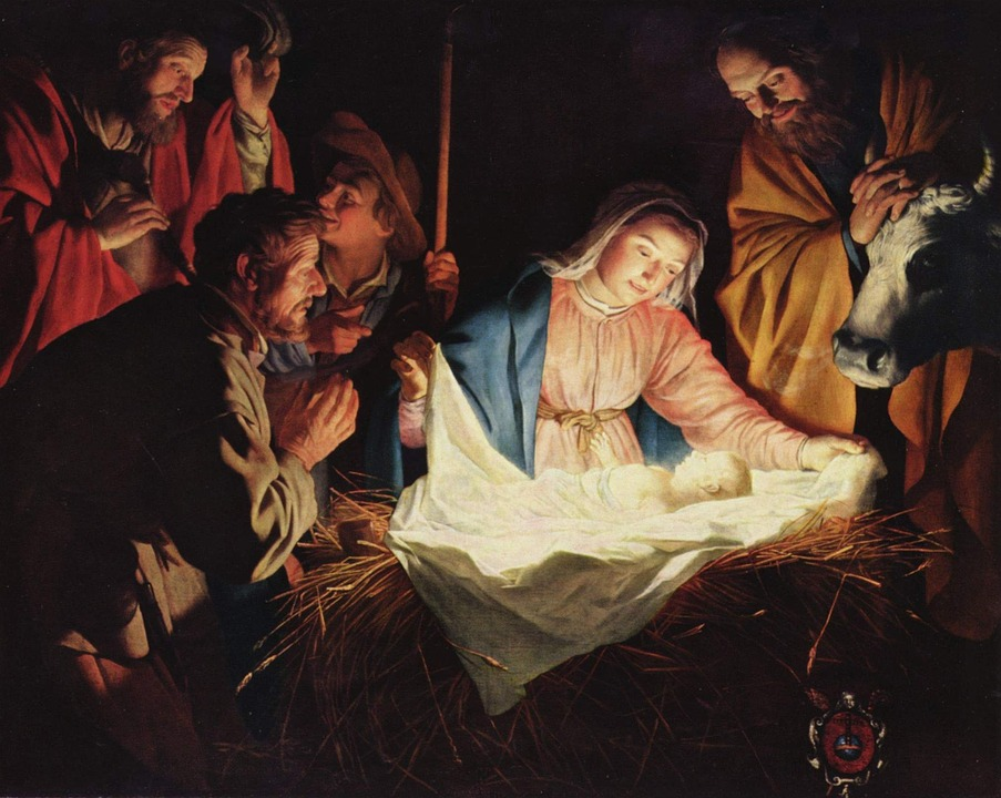 Joseph and Mary looking at baby Jesus laying in a manger.