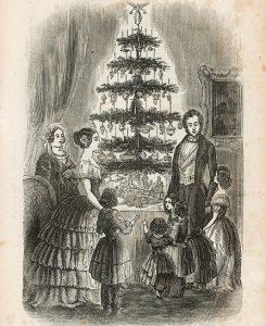 Drawing of Queen Victoria and Prince Albert around the tree with their children.