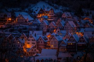 European town covered in snow.