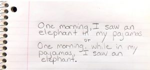 Picture of the sentence One morning I saw an elephant in my pajamas.