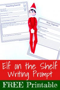 Cover for Blog Post Elf on the Shelf Writing Prompt with Free Printable