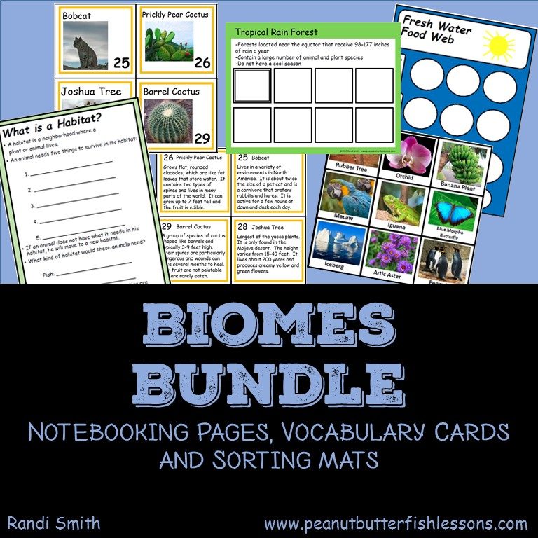 Biomes Bundle of Notebooking Pages, Vocabulary Cards, and Sorting Mats