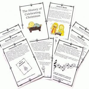History of Celebrating Christmas coloring booklet