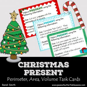 Cover for product Christmas Present Task Cards Perimeter, Area and Volume