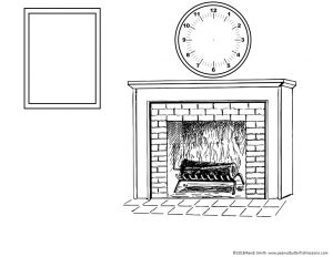 Picture to draw and color for December listening practice. Has a fireplace, clock and picture frame.