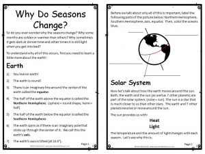 First two pages of booklet Why Do Seasons Change?