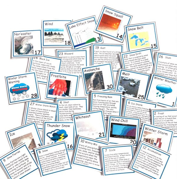Front and backs of several winter weather vocabulary cards laid on white background.