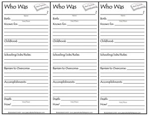 Printable booksmarks to take notes while reading a Who Was biography.