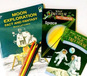 Moon exploration coloring book, Magic Tree House book Midnight on the Moom and the Magic Tree House Fact Tracker about Space.