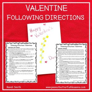 Cover for February Valentine Following Directions Activity showing front of card and two sets of instructions.