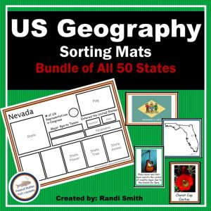 Product cover of US Geography Sorting Mats Bundle of All 50 States
