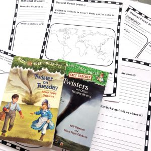 Magic Tree House books and weather and natural disaster notebooking pages.