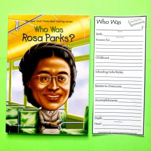 Who Was Rosa Parks book with printed note taking bookmark.