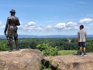 Back of a statue overlooking a vista at Gettysburg National Military Park.