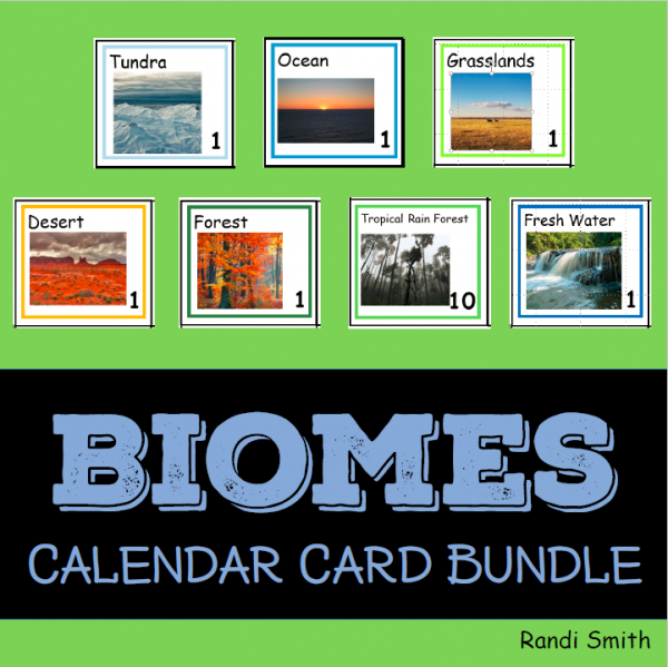 Product cover for bundle of vocabulary cards for seven biomes showing title and picture of one card from each biome.