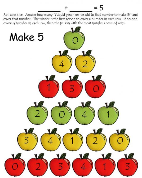 Make 5 game with a pyramid of apples with numbers on it
