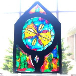 Finished stained glass window.
