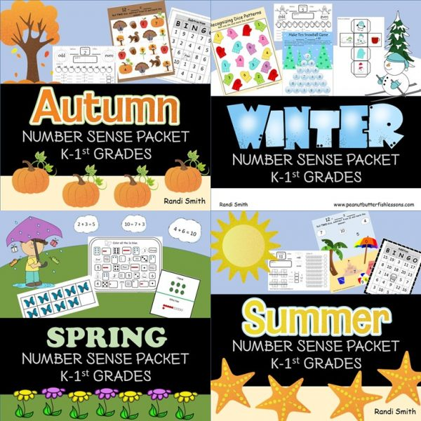 Cover for Seasonal Number Sense Packets. Shows 4 covers one for each season.