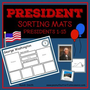 US President Sorting Mats: Presidents 1-15