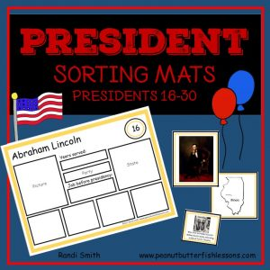 US President Sorting Mats: Presidents 16-30