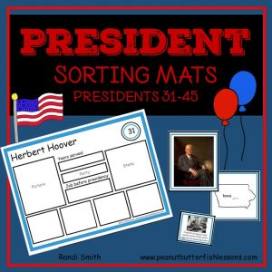 US President Sorting Mats: Presidents 31-45
