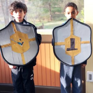 Two boys holding medieval shields