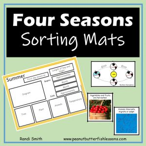Cover of the Four Seasons Sorting Mats with title, picture of one mat and a couple cards.