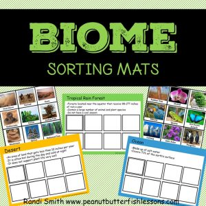 cover for Biome Sorting Mats. shows print out of some of the mats and cards.