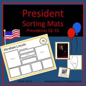 US President Sorting Mats: Presidents 16-31