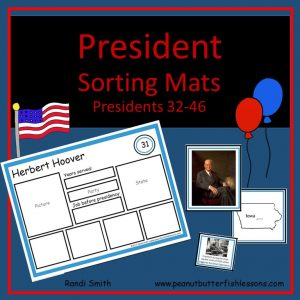 US President Sorting Mats: Presidents 32-46