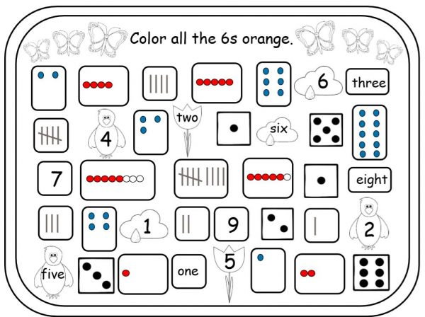 Worksheet with a variety of ways 6 can be shown.