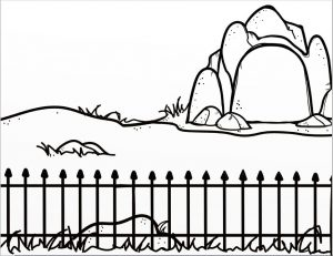 Black and White Drawing of a Zoo Background