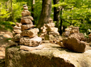Several stacks of cairns on a large boulder with a forest in the background.