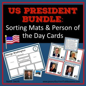 Cover for Bundle of US President Sorting Mats and the President and First Lady Person of the Day Cards