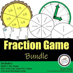 Cover for Fraction Game Bundle showing printable materials from the three products.