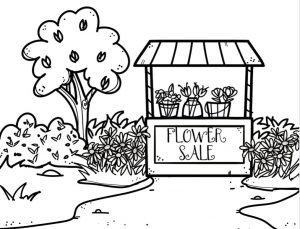 Black and white line drawing of a flower stand surrounded by flowers and a tree.
