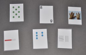 Six different cards showing different numbers in various ways.