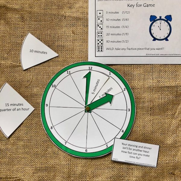 Clock, cards, and key for How Fast Can Time Fly? Game