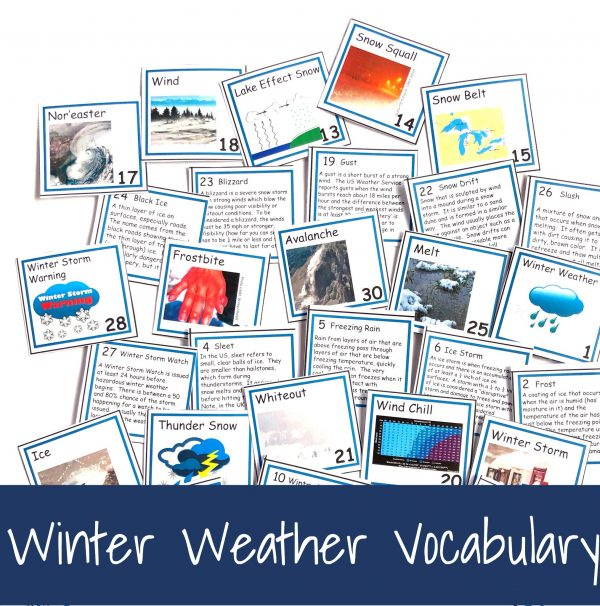 Fronts and backs of winter weather vocabulary cards.