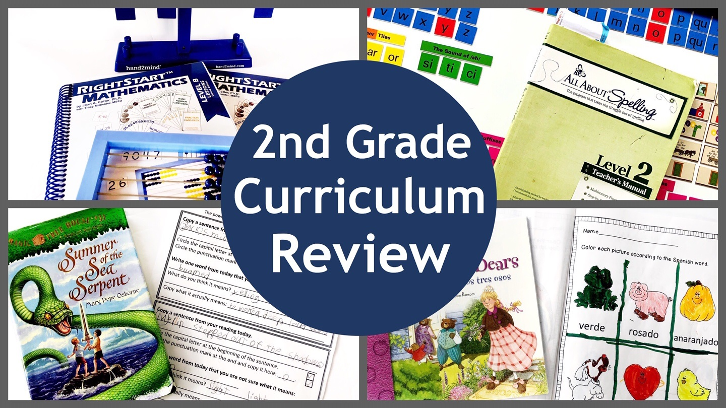 Cover for 2nd Grade Homeschool Curriculum Review post.