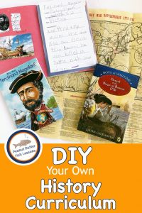 Cover for blog post DIY Your Own History Curriculum showing books, a map, and a scrapbook.