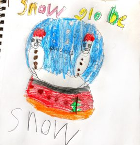 Child's drawing of a snow globe.