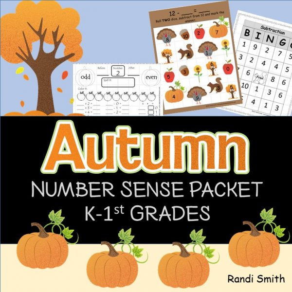 Cover for Fall Number Sense Packet k-1st Grade