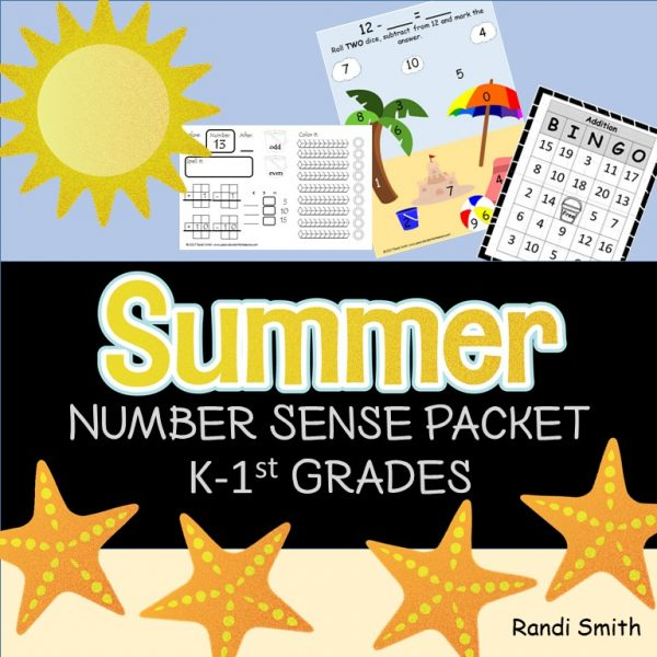 Cover for Summer Number Sense Packet k-1st Grade