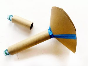 Trumpets made from the top of water bottles, cardboard tubes and a cardboard funnel.