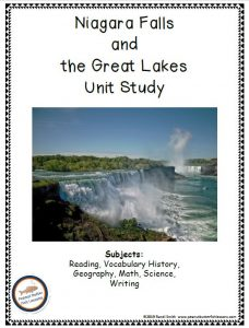 Cover of the Niagara Falls and Great Lakes Unit Study. Shows picture of Niagara Falls.