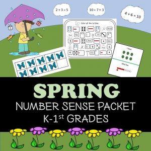 Cover for Spring Number Sense Packet