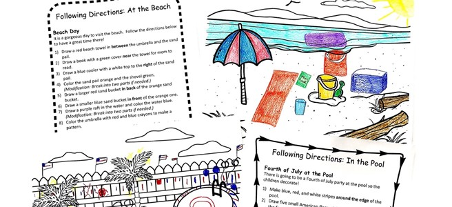 Two sets of directions with two pictures. One of a colored beach scene and one of a colored pool scene.