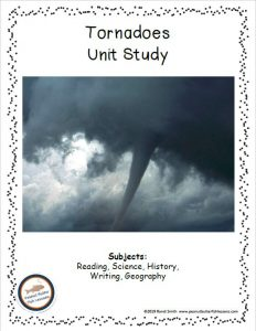Cover to printable unit study about tornadoes.