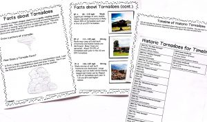 Notebooking pages about tornadoes.